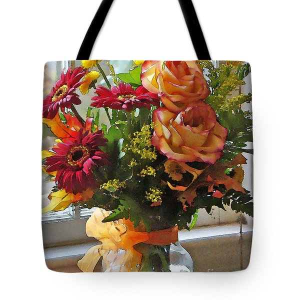 Autumn Window Tote Bag by Betsy Zimmerli