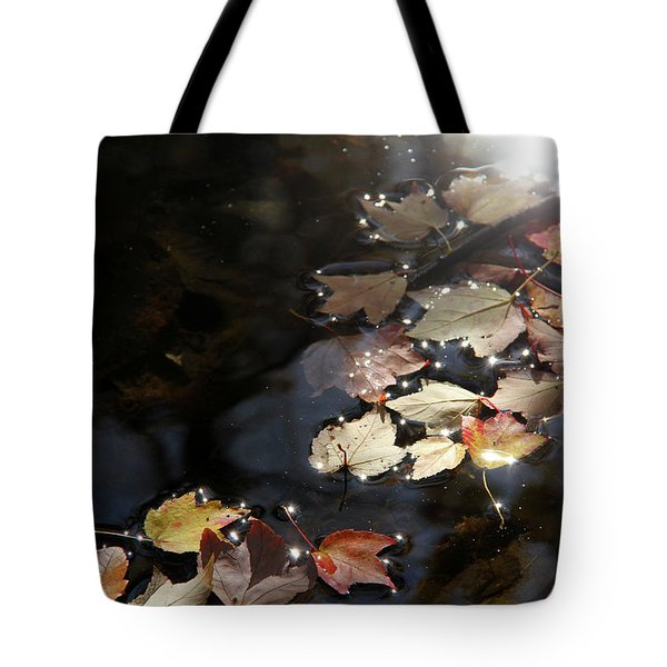Autumn With Leaves On Water Tote Bag