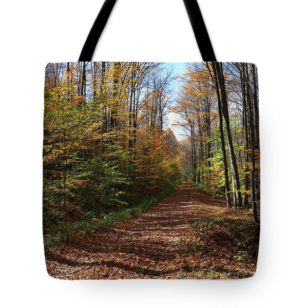 Autumn Woods Road Tote Bag