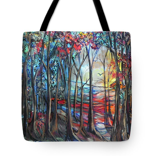 Autumn Woods Sunrise Tote Bag