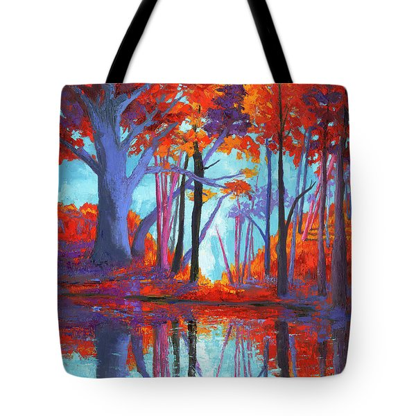 Tote Bag featuring the painting Autumnal Landscape, Impressionistic Art by Patricia Awapara