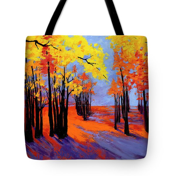 Tote Bag featuring the painting Autumnal Landscape Painting, Forest Trees At Sunset by Patricia Awapara