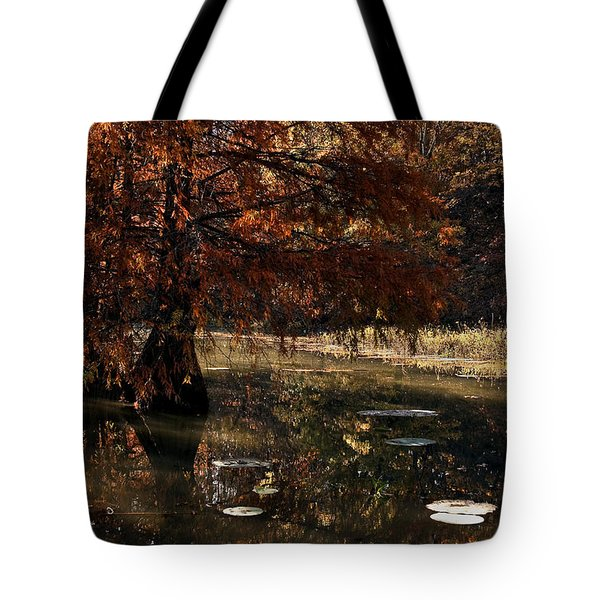Tote Bag featuring the photograph Autumnal Solace At Lake Murray by Tamyra Ayles