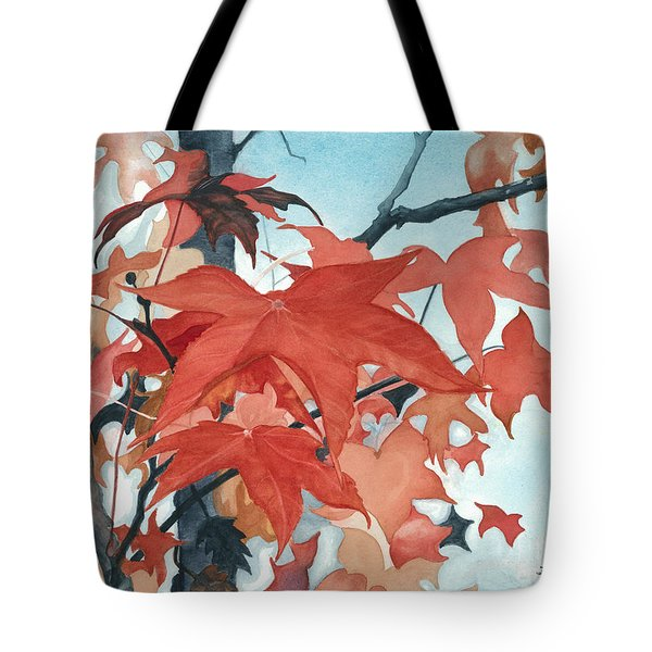 Tote Bag featuring the painting Autumn's Artistry by Barbara Jewell