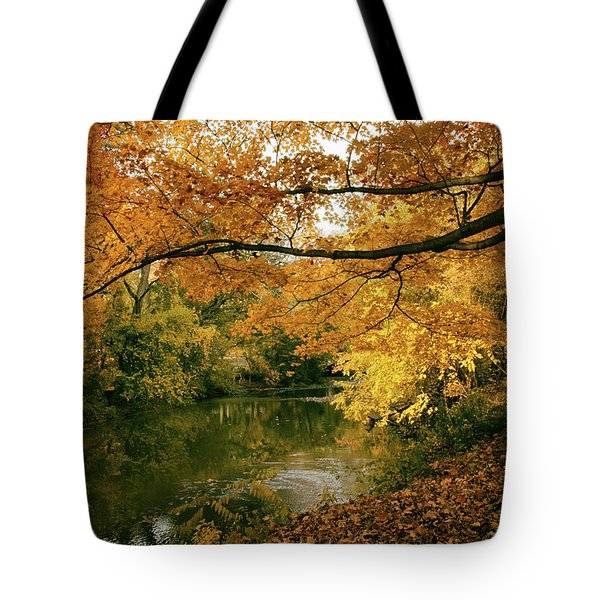 Tote Bag featuring the photograph Autumn's Golden Tones by Jessica Jenney