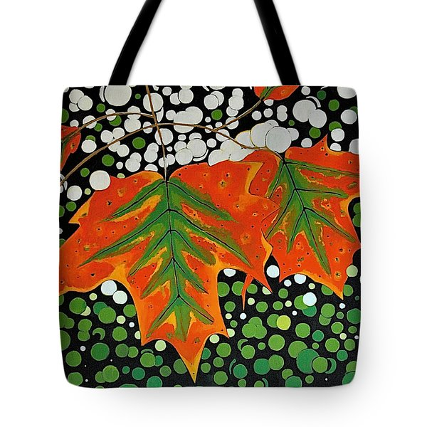 Tote Bag featuring the painting Autumns Kiss by Kathleen Sartoris