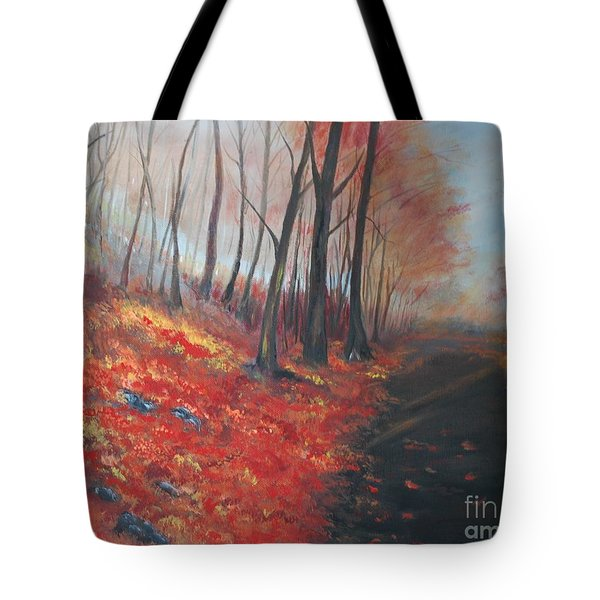 Tote Bag featuring the painting Autumns Pathway by Leslie Allen