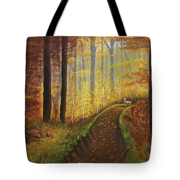 Autumn's Wooded Riverbed Tote Bag by Christie Nicklay