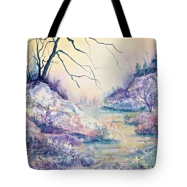 Autumnscape In Purple Tote Bag