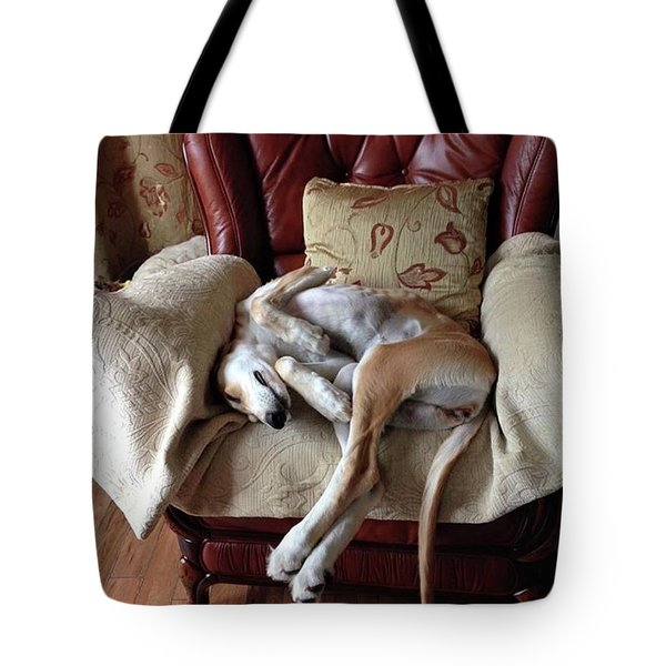 Ava - Asleep On Her Favourite Chair Tote Bag by John Edwards