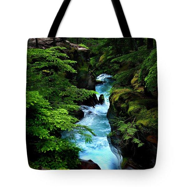 Avalanche Creek Waterfalls Tote Bag