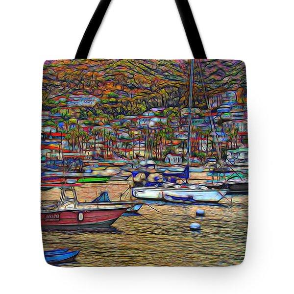 Avalon Harbor Sunset Tote Bag