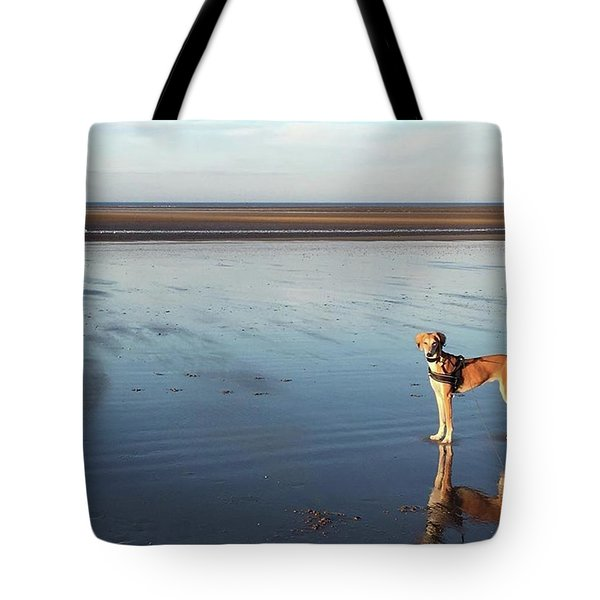 Ava's Last Walk On Brancaster Beach Tote Bag by John Edwards