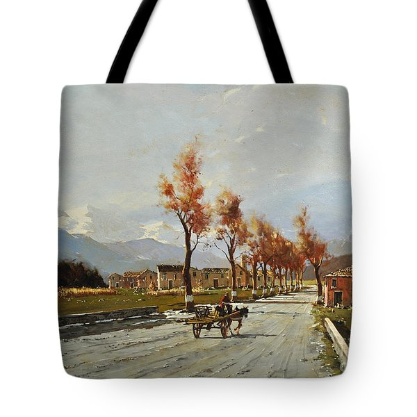 Tote Bag featuring the painting Avellino's Landscape  by Rosario Piazza