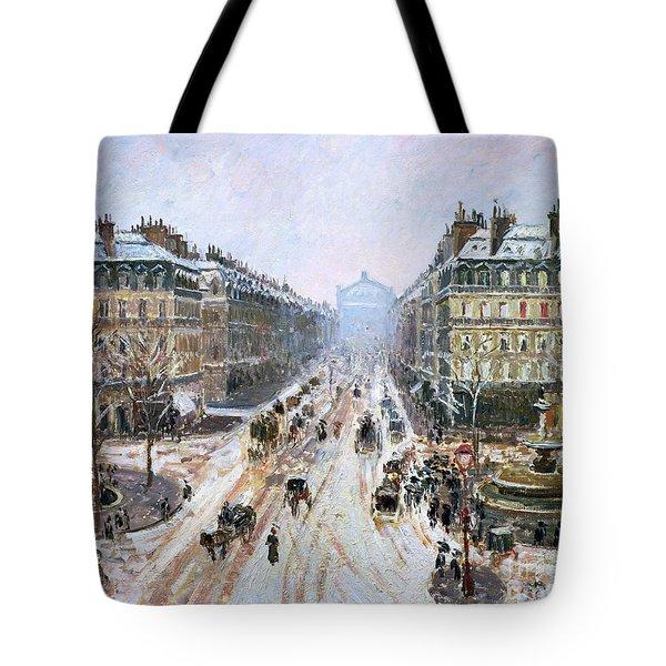 Avenue De L'opera - Effect Of Snow Tote Bag by Camille Pissarro