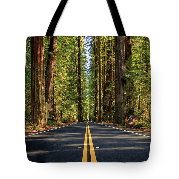 Avenue Of The Giants Tote Bag by James Eddy