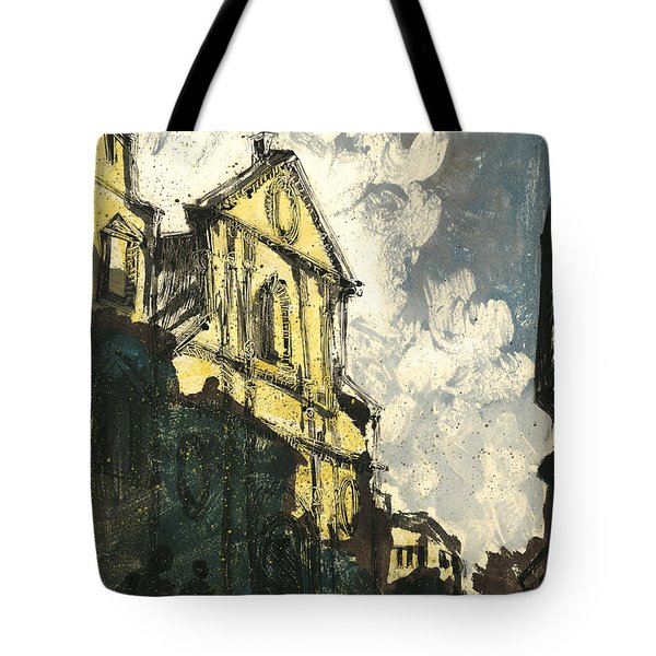 Tote Bag featuring the painting Avignon Provence Street View by Martin Stankewitz