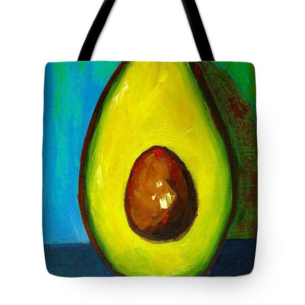 Avocado, Modern Art, Kitchen Decor, Blue Green Background Tote Bag