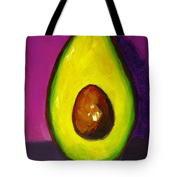 Avocado Modern Art, Kitchen Decor, Purple Background Tote Bag