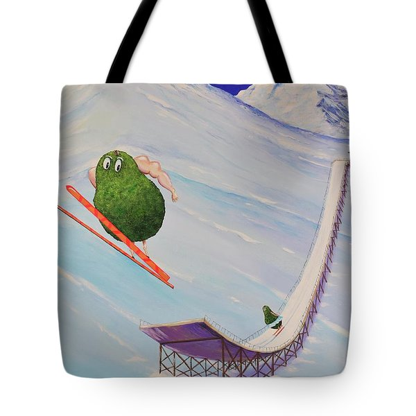 Tote Bag featuring the painting Avocados Can Fly by Mary Scott