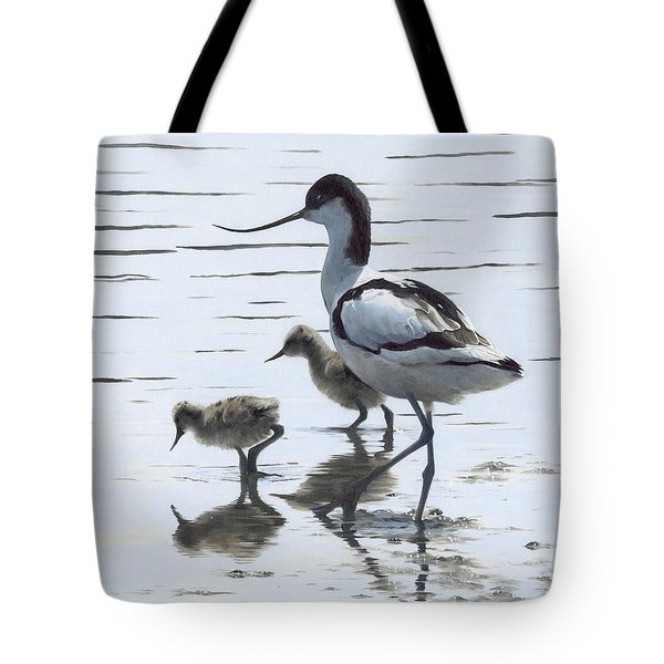 Avocet And Chicks Tote Bag by Clive Meredith
