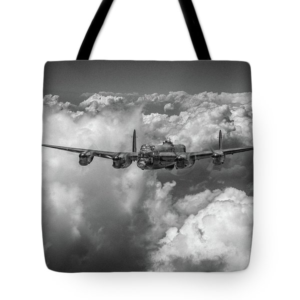 Tote Bag featuring the photograph Avro Lancaster Above Clouds Bw Version by Gary Eason
