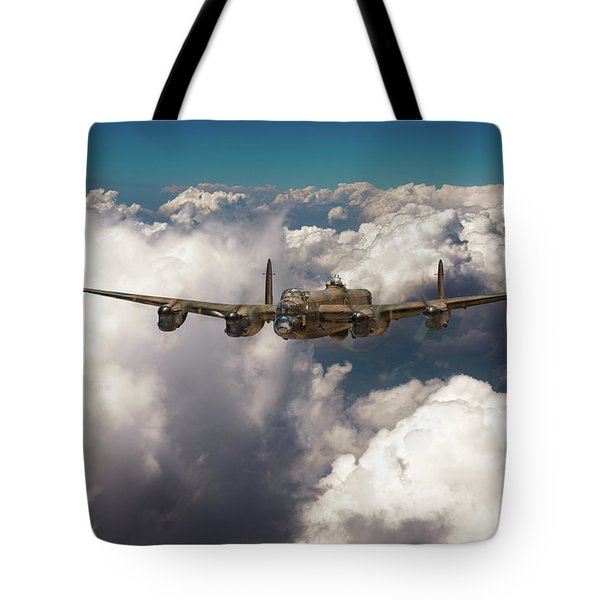 Tote Bag featuring the photograph Avro Lancaster Above Clouds by Gary Eason
