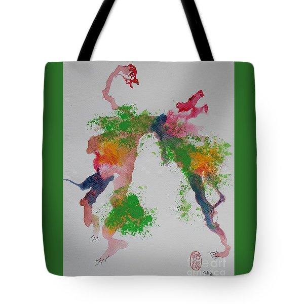 Tote Bag featuring the painting Avversari Preistorici by Roberto Prusso