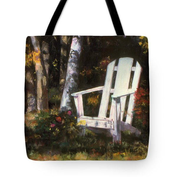 Tote Bag featuring the painting Awaiting by Julie Maas