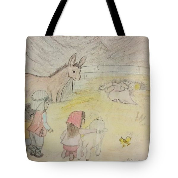 Away In A Manger With Child Shepherds Tote Bag by Christy Saunders Church