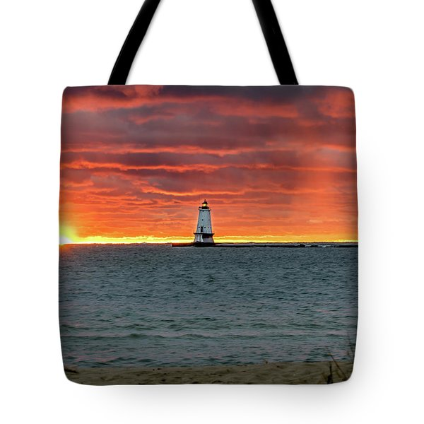 Awesome Sunset With Lighthouse  Tote Bag