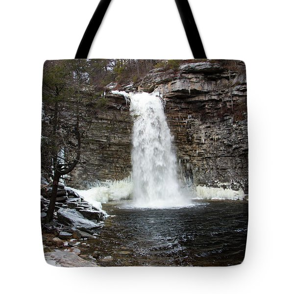 Awosting Falls In January #1 Tote Bag by Jeff Severson