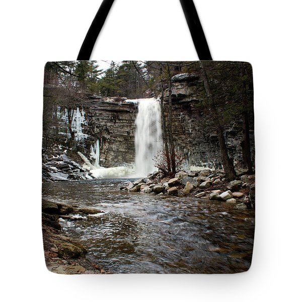 Awosting Falls In January #2 Tote Bag by Jeff Severson