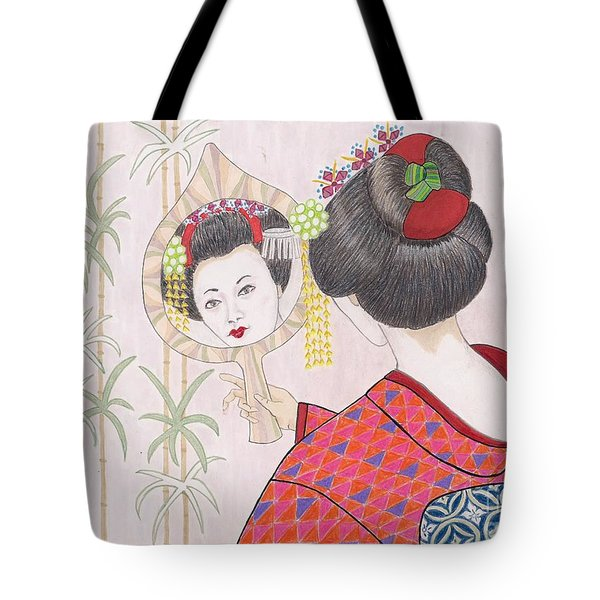 Ayano -- Portrait Of Japanese Geisha Girl Tote Bag