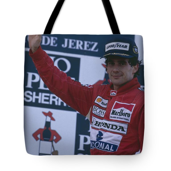 Ayrton Senna. 1989 Spanish Grand Prix Winner Tote Bag