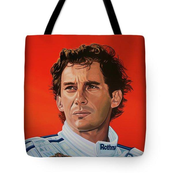 Ayrton Senna Portrait Painting Tote Bag by Paul Meijering