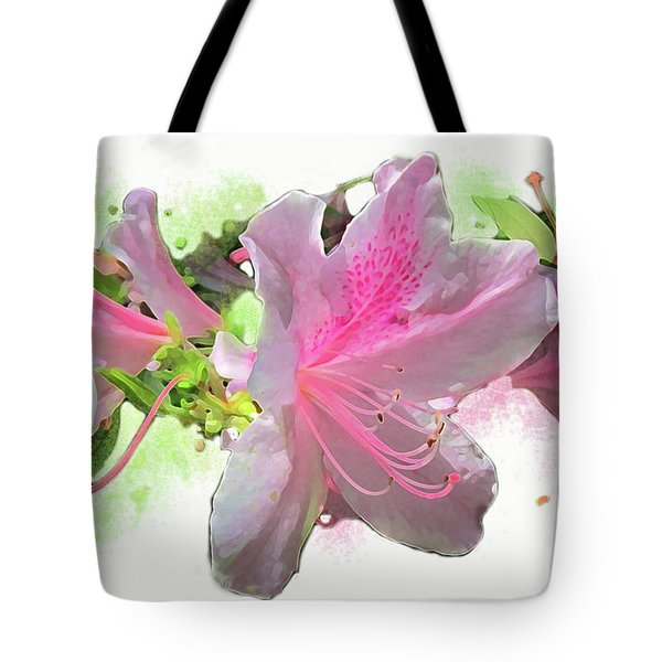 Tote Bag featuring the digital art Azalea #2 by Gina Harrison