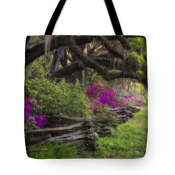 Tote Bag featuring the photograph Azalea Fence Under Giant Oaks by Ken Barrett