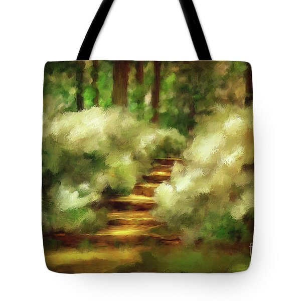 Azalea Stairs Tote Bag by Lois Bryan