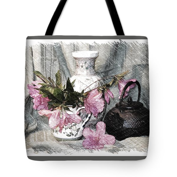Azaleas And Teapot Tote Bag