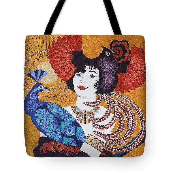 Aztec Bird Goddess Tote Bag