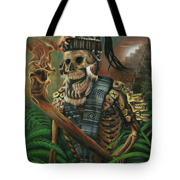 Aztec Hunter Dia De Muertos Tote Bag