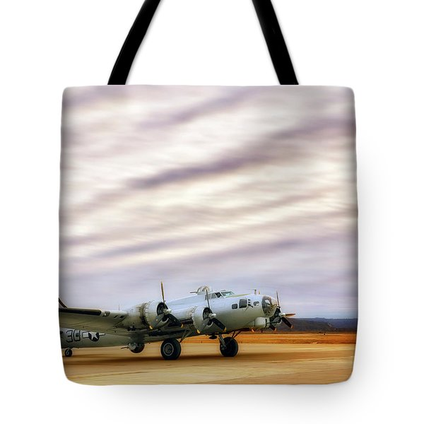 Tote Bag featuring the photograph B-17 Aluminum Overcast - Bomber - Cantrell Field by Jason Politte