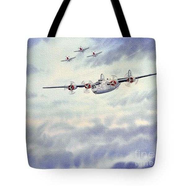 B-24 Liberator Aircraft Painting Tote Bag by Bill Holkham