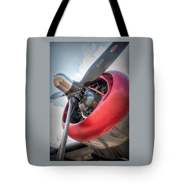 Tote Bag featuring the photograph B-24j Liberator Engine by Kristia Adams