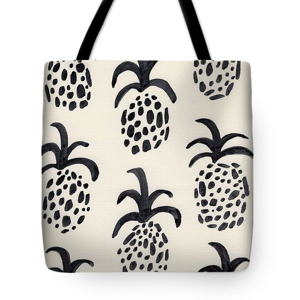 B And W Pineapple Print Tote Bag by Anne Seay