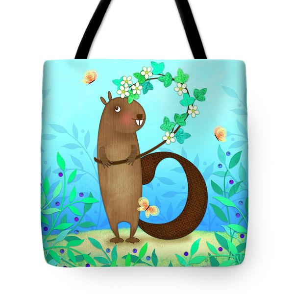 B Is For Beaver With A Blossoming Branch Tote Bag