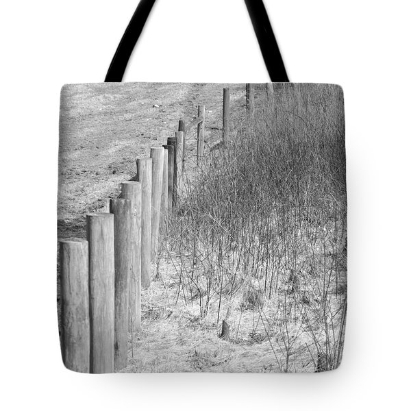 B/w Fence Post 2 Tote Bag by Erick Schmidt