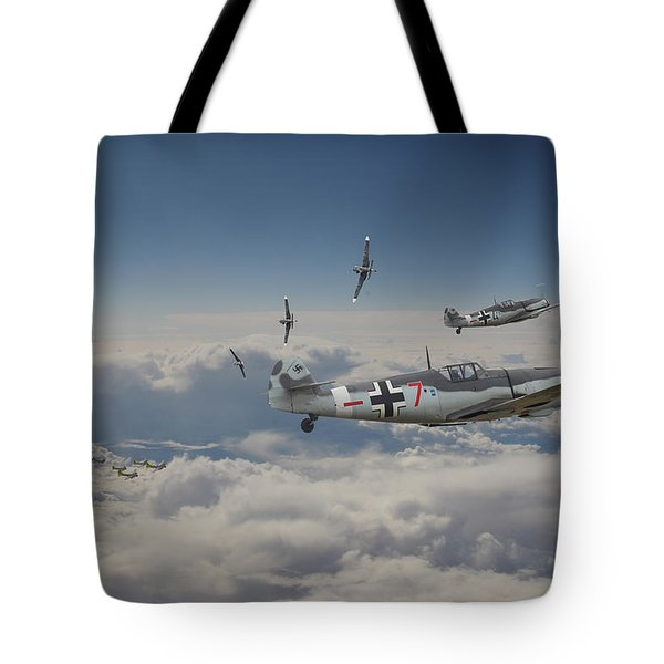Tote Bag featuring the digital art B17 - Luftwaffe Battleground by Pat Speirs