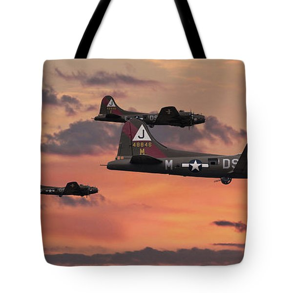 Tote Bag featuring the digital art B17 - Sunset Home by Pat Speirs